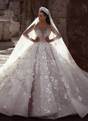 Glittery Floral Bridal Gowns  | See Through Neck Long Sleeves Ball Gown Wedding Dresses_2