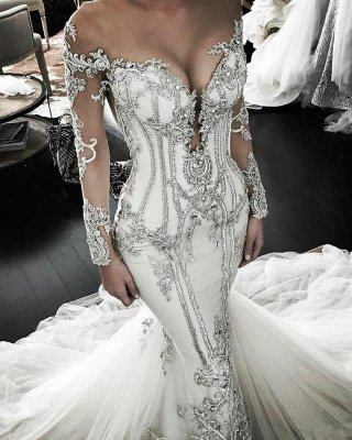 Classic Appliques Mermaid Wedding Dresses | Off-the-Shoulder Long Sleeves Bridal Gowns_1