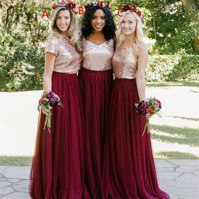 Burgundy Bridesmaid Dresses | Long Sequin Chiffon Maid of Honor Dresses_3