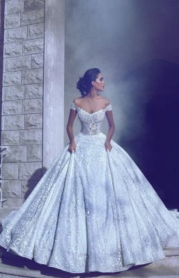 Glamorous Long Off-The-Shoulder Princess Ball Gown Wedding Dresses_3