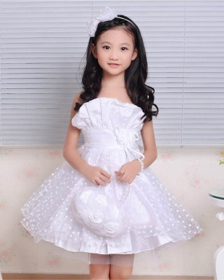 A line Lace Spaghetti Straps Heart shape Pattern Flower Girl Dress