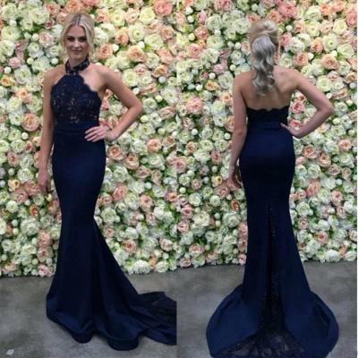Halter Appliques Gorgeous Lace Long Navy Mermaid Evening Dress_3