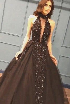 Stunning Sleeveless Beaded Sequined A-line High Neck Tulle Sexy Black Prom Dresses_3