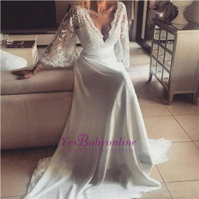 Sexy Lace A-Line Long V-Neck Prom Dresses_1