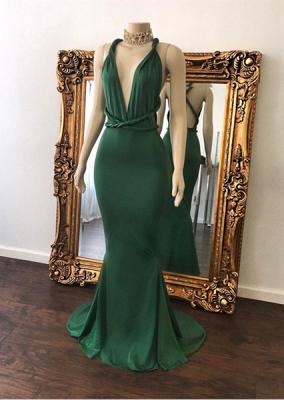 Sexy Green Prom Dresses Halter V-Neck Crisscross Back Mermaid Evening Gowns_2