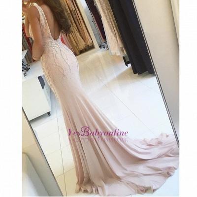 Sleeveless Two-straps Side-slit Sweep-train V-neck Mermaid Prom Dress_1