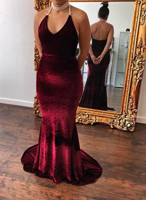 Sexy Burgundy Velvet Evening Dresses Halter Neck Beading Open Back Long Prom Gowns_1