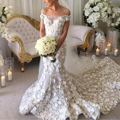 Classic Mermaid Appliques Wedding Dresses   Off-the-Shoulder White Bridal Gowns_3