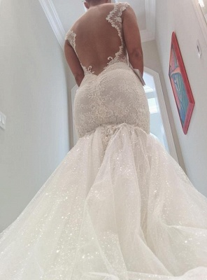 Sexy  Lace Mermaid Wedding Dresses | Tulle Open Back Spagheeti Strapless Bridal Gowns_4