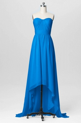 A Line Chiffon Hi-Lo Sweetheart Strapless Bridesmaid Dresses with Ruffles_3