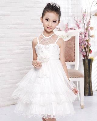 A line Tulle Halter Layered Knee length Flower Girl Dress