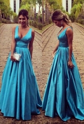 Sleeveless Zipper Modest Straps Long A-line Prom Dress_2