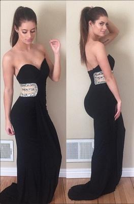 Sleeveless Crystals Mermaid Sweetheart Black Prom Dress_2