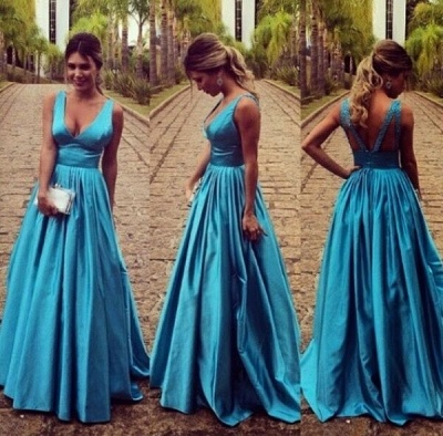 Sleeveless Zipper Modest Straps Long A-line Prom Dress_3