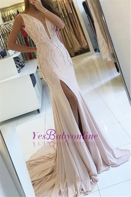 Sleeveless Two-straps Side-slit Sweep-train V-neck Mermaid Prom Dress_2