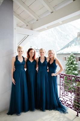 Halter Simple Elegant Floor-length Navy A-line Bridesmaid Dress_2