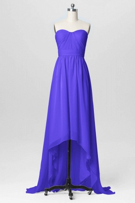 A Line Chiffon Hi-Lo Sweetheart Strapless Bridesmaid Dresses with Ruffles_2