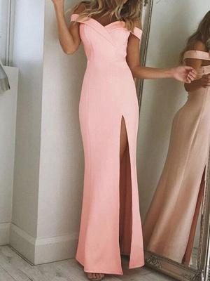Long Elegant Side-Slit Sheath Off-The-Shoulder Prom Dresses_2