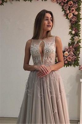 A-Line Crystal Sleeveless Court-Train Elegant Prom Dress_3