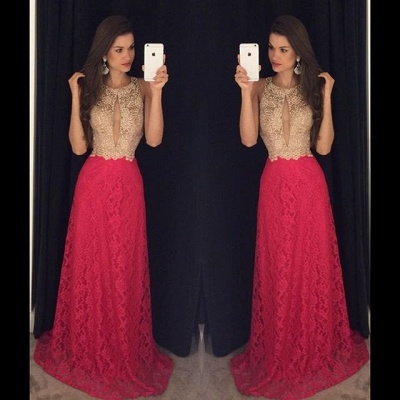 2019 Keyhole Neck Lace Prom Dresses Sleeveless A-line Evening Gowns_3