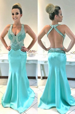 Straps Sleeveless Newest Crystals Mermaid Prom Dress_2