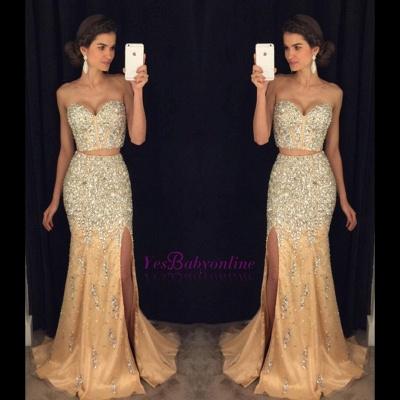 Luxury Crystal Sweetheart Two-Pieces Side-Slit Mermaid Prom Dress_1