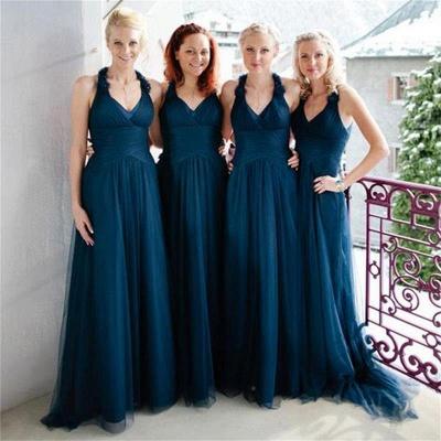 Halter Simple Elegant Floor-length Navy A-line Bridesmaid Dress_3