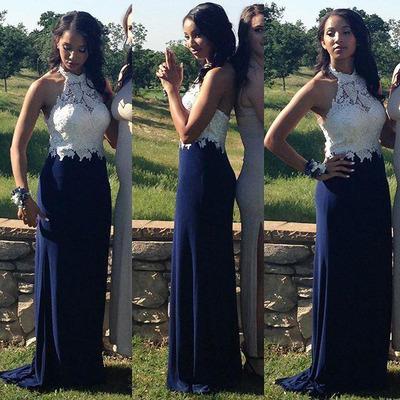 Sheath Navy-Blue Halter-Neck Lace Appliques-Top Gorgeous Prom Dresses_2