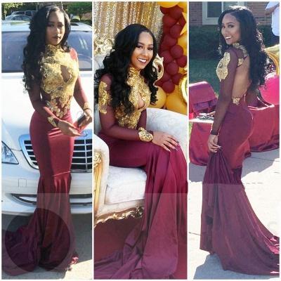 Gold-Appliques Elegant Long-Sleeves Backless High-Neck Prom Dresses_2