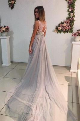 A-Line Crystal Sleeveless Court-Train Elegant Prom Dress_4