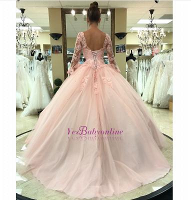 sleeve long lace pink princess evening dress_1