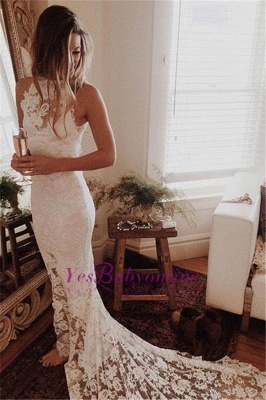Glamorous High Neckline Court Train Mermaid Lace Wedding Dresses_1