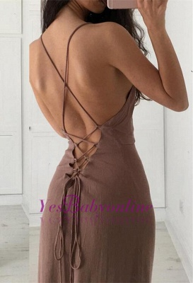 Brown Simple Long Formal Spaghettis-Straps Party Dresses_1