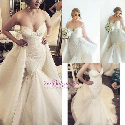 Floral Luxurious Strapless Ruffles Sleeveless Open-Back Detachable-Train Mermaid Wedding Dress_1