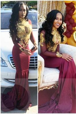 Gold-Appliques Elegant Long-Sleeves Backless High-Neck Prom Dresses_3