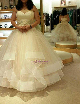 Ball-Gown Exquisite Tiered Crystal-Sashes Sleeveless Tulle Sweetheart Wedding Dresses_1