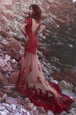 Red Long Sleeves Prom Dresses Lace Appliques Beading Mermaid Evening Gowns_2