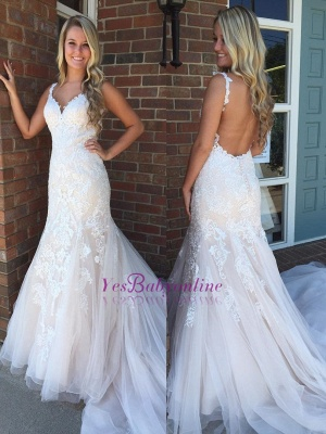 Modern Ivory Straps Lace Mermaid Wedding Dress_1