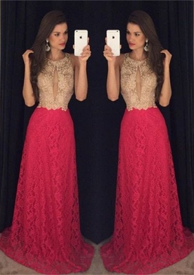 2019 Keyhole Neck Lace Prom Dresses Sleeveless A-line Evening Gowns_2