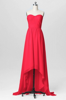 A Line Chiffon Hi-Lo Sweetheart Strapless Bridesmaid Dresses with Ruffles_1