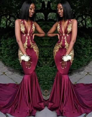 Sexy V-Neck Sleeveless Evening Dresses |  Mermaid Lace Appliques Long Prom Dresses_1