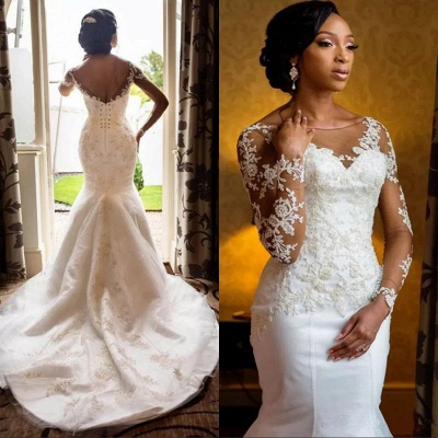 Open Back Long Sleeve Sexy Mermaid Lace Wedding Dresses_3