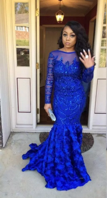 Beading Mermaid Backless Prom Dresses | Long Sleeves Royal Blue Evening Gowns_1