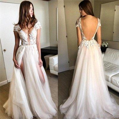 Short-Sleeves Side-Slit A-line Lace-Applique Tulle Exquisite Scoop Wedding Dresses_3