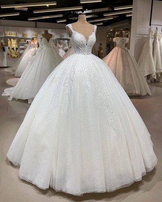 Straps Sweetheart Beaded Floor Length Ball Gown Wedding Dresses_2