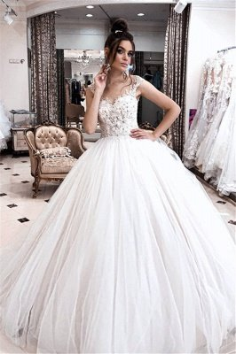 Straps Sweetheart Beaded Floor Length Ball Gown Wedding Dresses_1