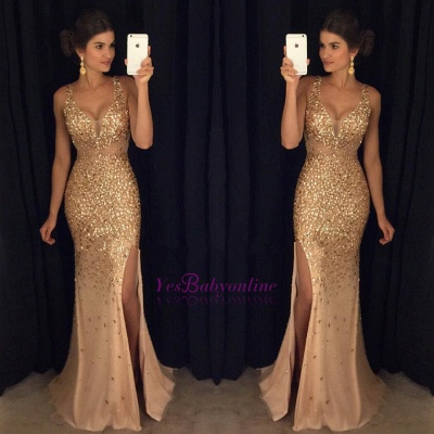Luxury Gold Mermaid Prom Dresses Sleeveless Front Split Crystals Long Evening Gowns_1