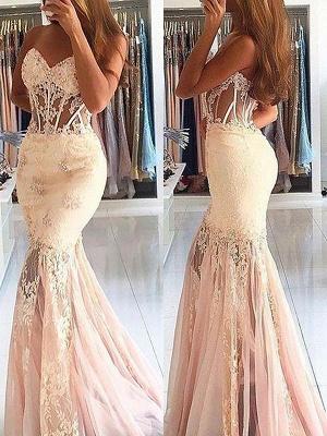 Sexy Mermaid Sleeveless Sweetheart  Lace Sweep Train Prom Dresses_1