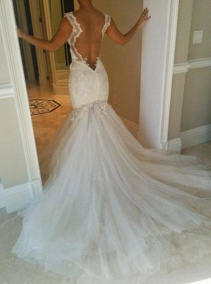 Sexy  Lace Mermaid Wedding Dresses   Tulle Open Back Spagheeti Strapless Bridal Gowns_3