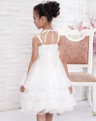 Cute A line Tulle Halter Layered Knee length Flower Girl Dress_3